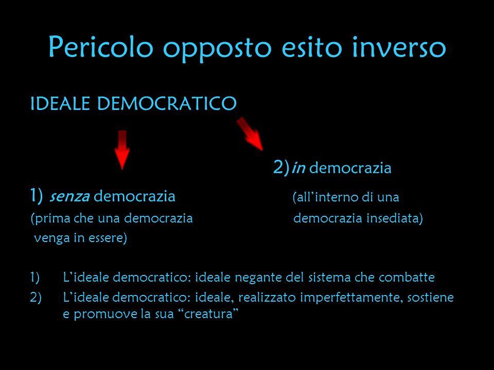 Pericolo opposto esito inverso IDEALE DEMOCRATICO 2) in democrazia 1) senza democrazia (allinterno di una (prima che una democrazia democrazia insedia
