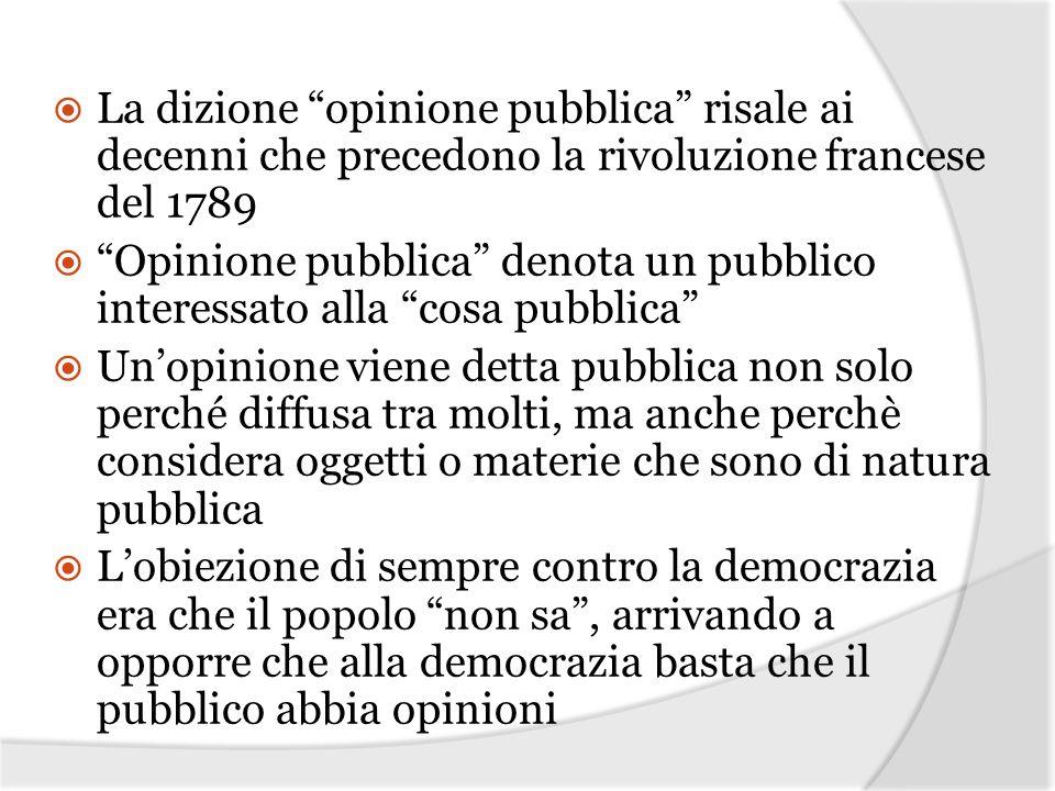 La dizione opinione pubblica risale ai decenni che precedono la rivoluzione francese del 1789 Opinione pubblica denota un pubblico interessato alla co