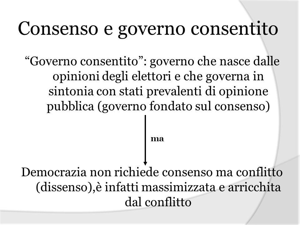 Consenso e governo consentito Governo consentito: governo che nasce dalle opinioni degli elettori e che governa in sintonia con stati prevalenti di op
