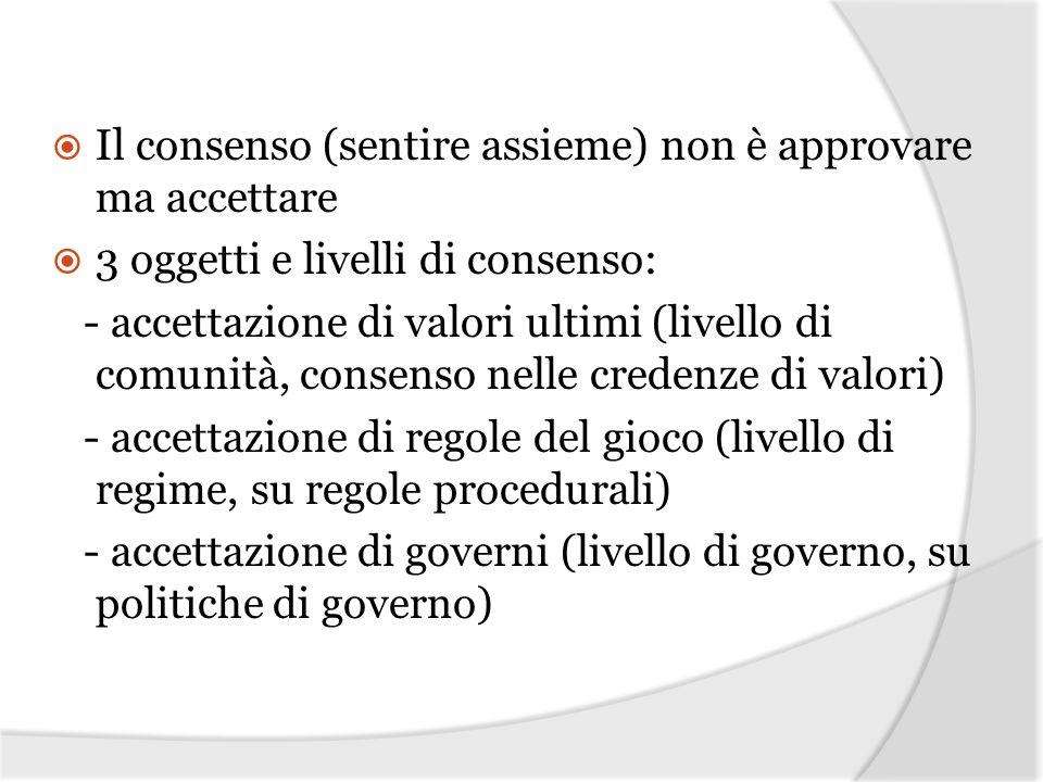 Il consenso (sentire assieme) non è approvare ma accettare 3 oggetti e livelli di consenso: - accettazione di valori ultimi (livello di comunità, cons