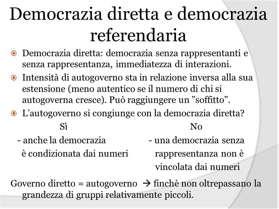 Democrazia diretta e democrazia referendaria Democrazia diretta: democrazia senza rappresentanti e senza rappresentanza, immediatezza di interazioni.