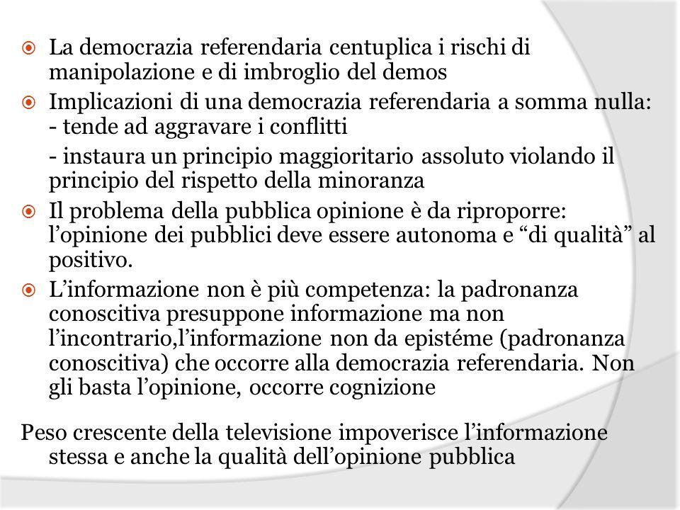 La democrazia referendaria centuplica i rischi di manipolazione e di imbroglio del demos Implicazioni di una democrazia referendaria a somma nulla: -