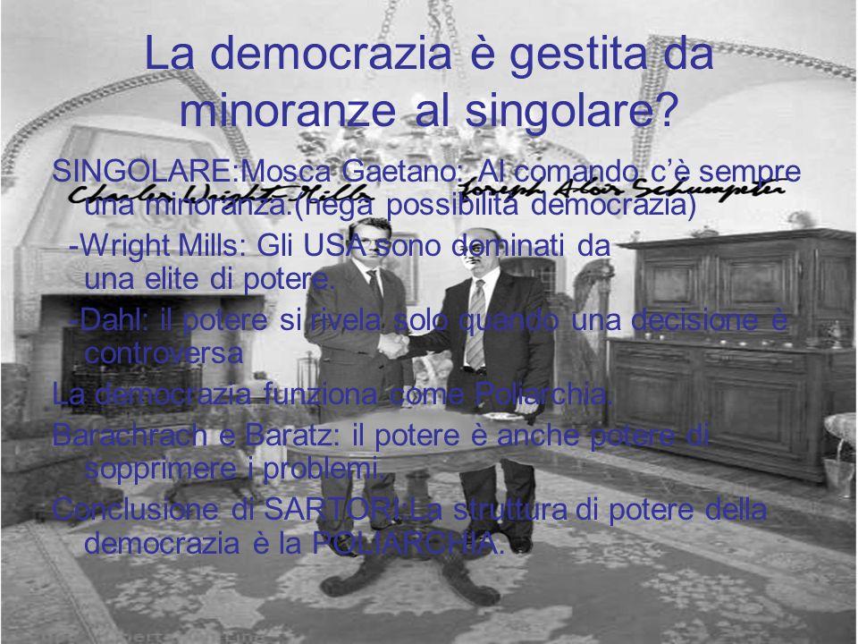 La democrazia è gestita da minoranze al singolare? SINGOLARE:Mosca Gaetano: Al comando cè sempre una minoranza.(nega possibilità democrazia) -Wright M