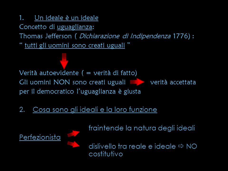 1.Un ideale è un ideale Concetto di uguaglianza: Thomas Jefferson ( Dichiarazione di Indipendenza 1776) : tutti gli uomini sono creati uguali Verità a