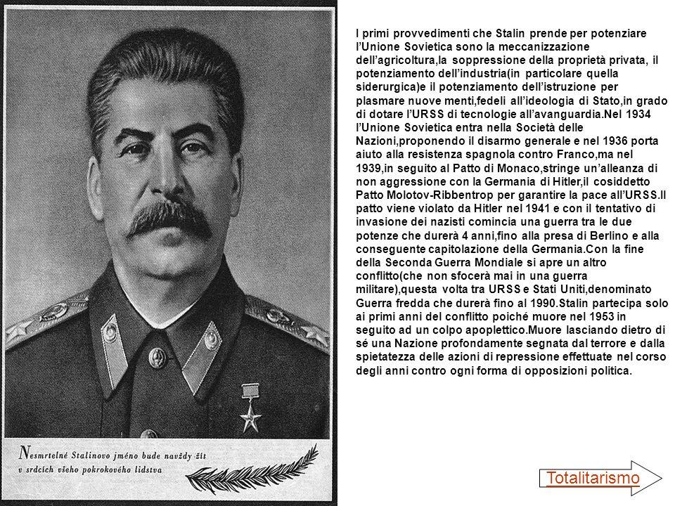 I primi provvedimenti che Stalin prende per potenziare lUnione Sovietica sono la meccanizzazione dellagricoltura,la soppressione della proprietà priva