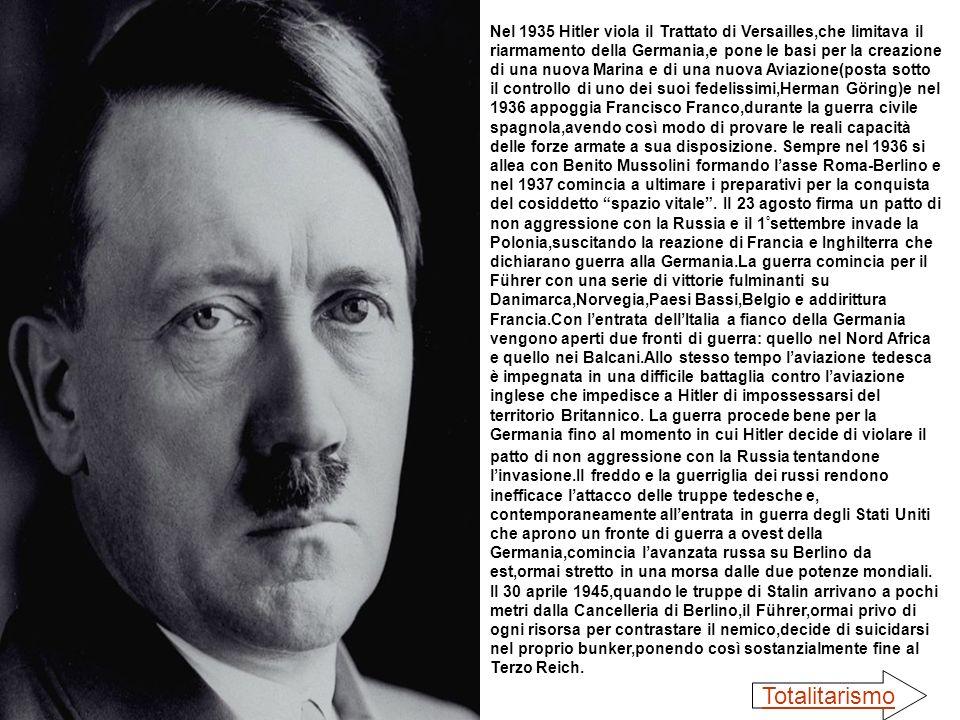 Nel 1935 Hitler viola il Trattato di Versailles,che limitava il riarmamento della Germania,e pone le basi per la creazione di una nuova Marina e di un