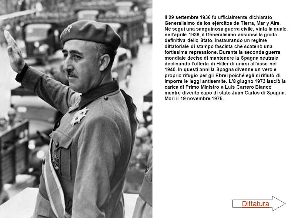 Il 29 settembre 1936 fu ufficialmente dichiarato Generalísimo de los ejércitos de Tierra, Mar y Aire. Ne seguì una sanguinosa guerra civile, vinta la