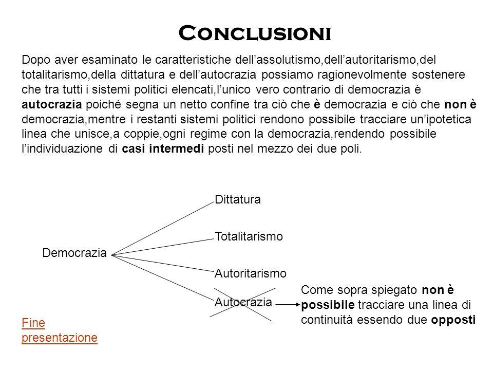 Conclusioni Dopo aver esaminato le caratteristiche dellassolutismo,dellautoritarismo,del totalitarismo,della dittatura e dellautocrazia possiamo ragio