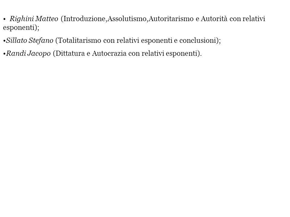 Righini Matteo (Introduzione,Assolutismo,Autoritarismo e Autorità con relativi esponenti); Sillato Stefano (Totalitarismo con relativi esponenti e con