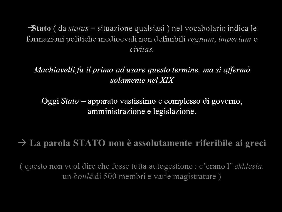 Stato ( da status = situazione qualsiasi ) nel vocabolario indica le formazioni politiche medioevali non definibili regnum, imperium o civitas. Machia