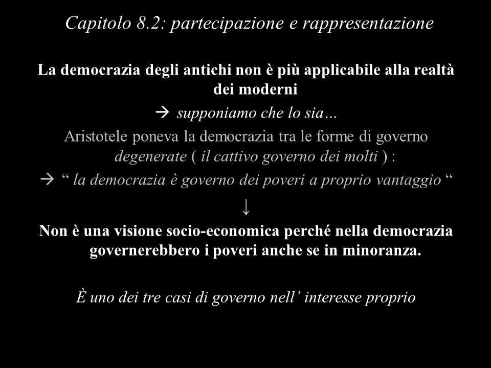 La democrazia degli antichi non è più applicabile alla realtà dei moderni supponiamo che lo sia… Aristotele poneva la democrazia tra le forme di gover