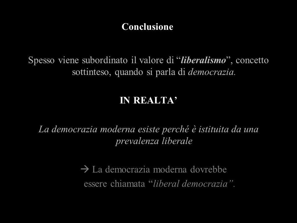 Conclusione Spesso viene subordinato il valore di liberalismo, concetto sottinteso, quando si parla di democrazia. IN REALTA La democrazia moderna esi