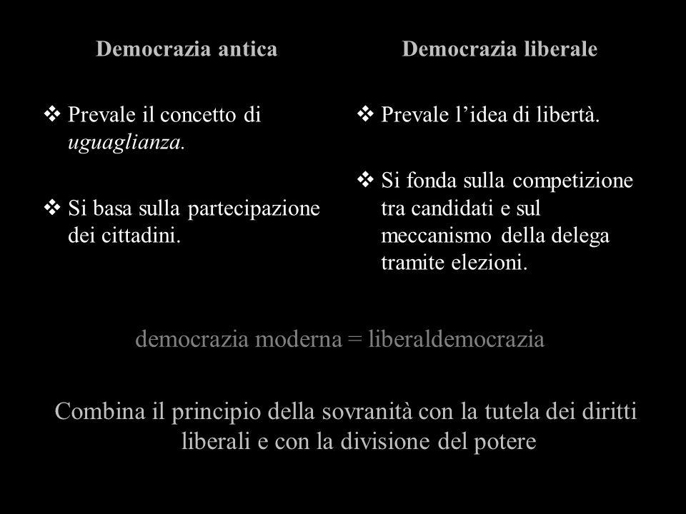 Democrazia antica Prevale il concetto di uguaglianza. Si basa sulla partecipazione dei cittadini. Democrazia liberale Prevale lidea di libertà. Si fon