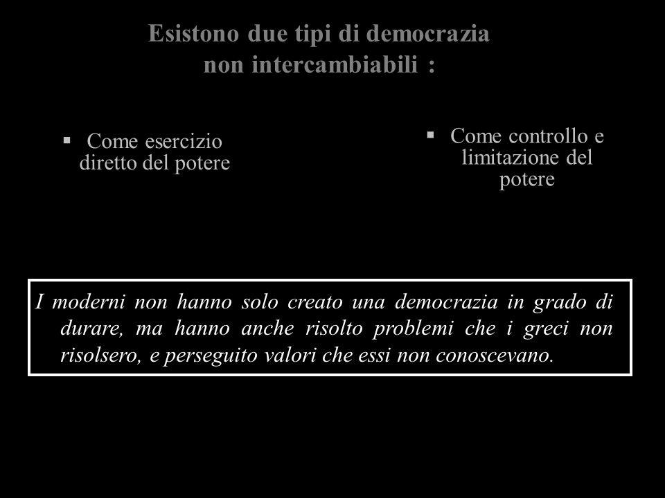 Esistono due tipi di democrazia non intercambiabili : Come esercizio diretto del potere Come controllo e limitazione del potere I moderni non hanno so