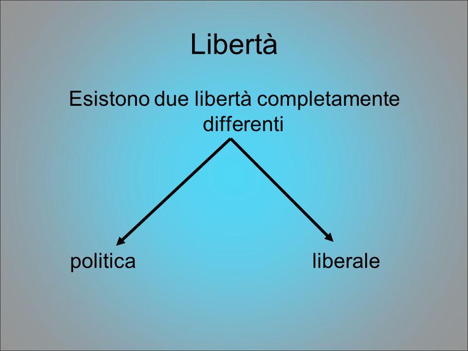Libertà Esistono due libertà completamente differenti politicaliberale