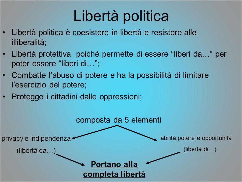 Libertà politica Libertà politica è coesistere in libertà e resistere alle illiberalità; Libertà protettiva poiché permette di essere liberi da… per p