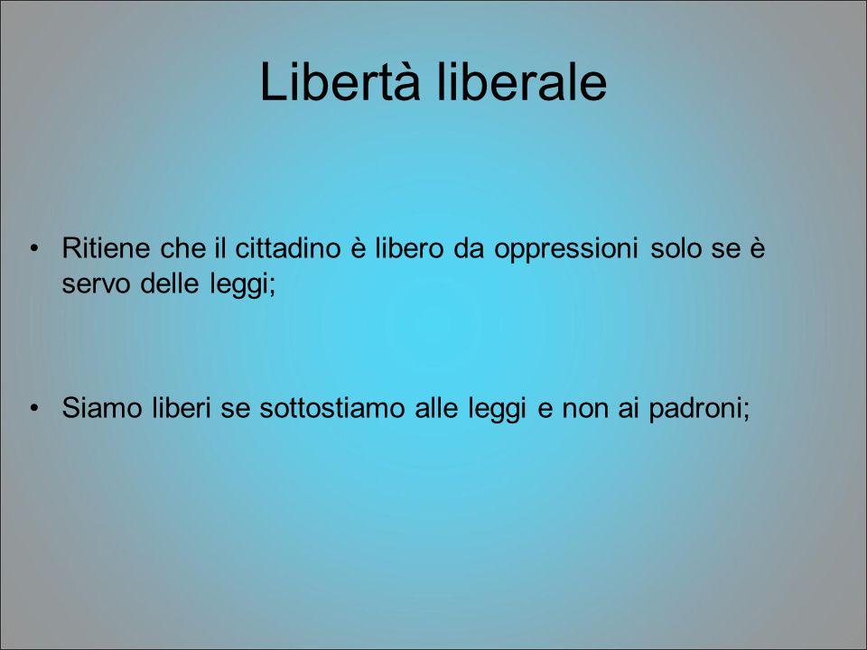 Libertà liberale Ritiene che il cittadino è libero da oppressioni solo se è servo delle leggi; Siamo liberi se sottostiamo alle leggi e non ai padroni