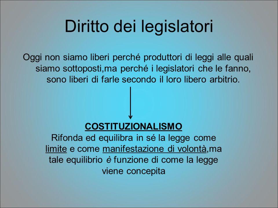 Diritto dei legislatori Oggi non siamo liberi perché produttori di leggi alle quali siamo sottoposti,ma perché i legislatori che le fanno, sono liberi
