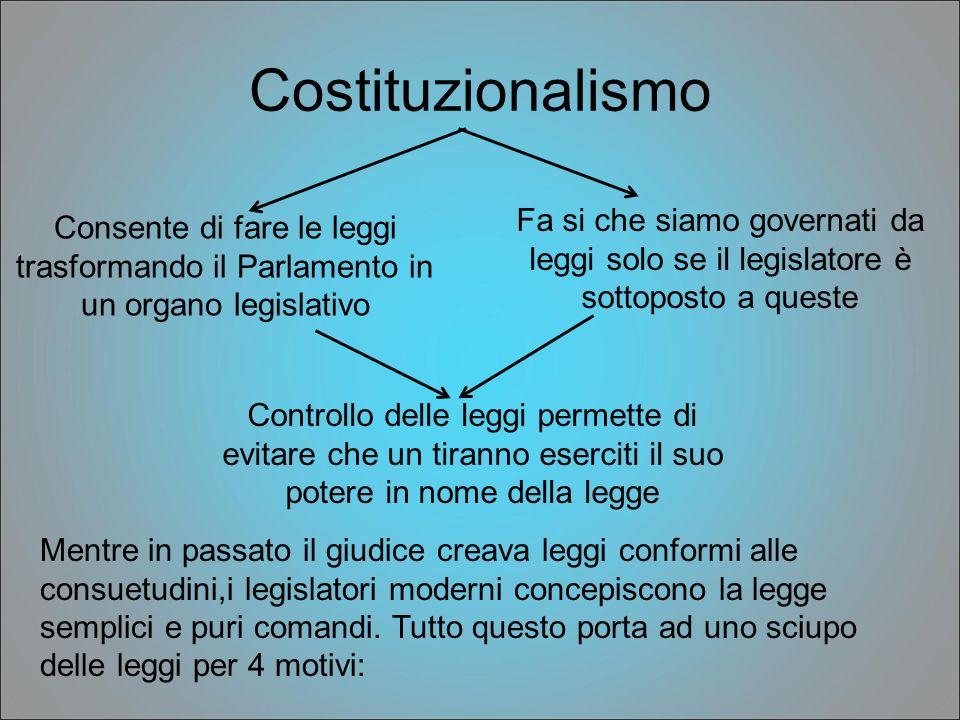 Costituzionalismo Consente di fare le leggi trasformando il Parlamento in un organo legislativo Fa si che siamo governati da leggi solo se il legislat