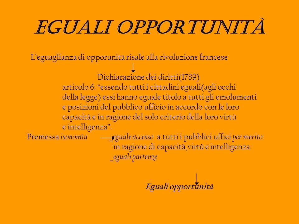 Eguali opportunità Leguaglianza di opporunità risale alla rivoluzione francese Dichiarazione dei diritti(1789) articolo 6: essendo tutti i cittadini e