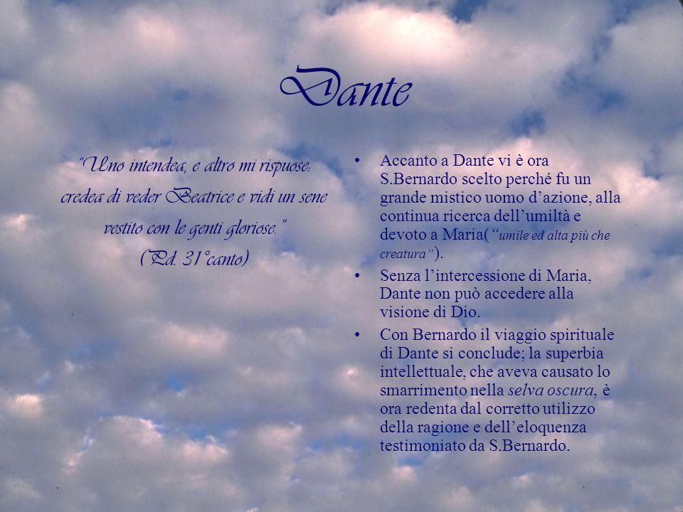 Dante Uno intendea, e altro mi rispuose: credea di veder Beatrice e vidi un sene vestito con le genti gloriose.