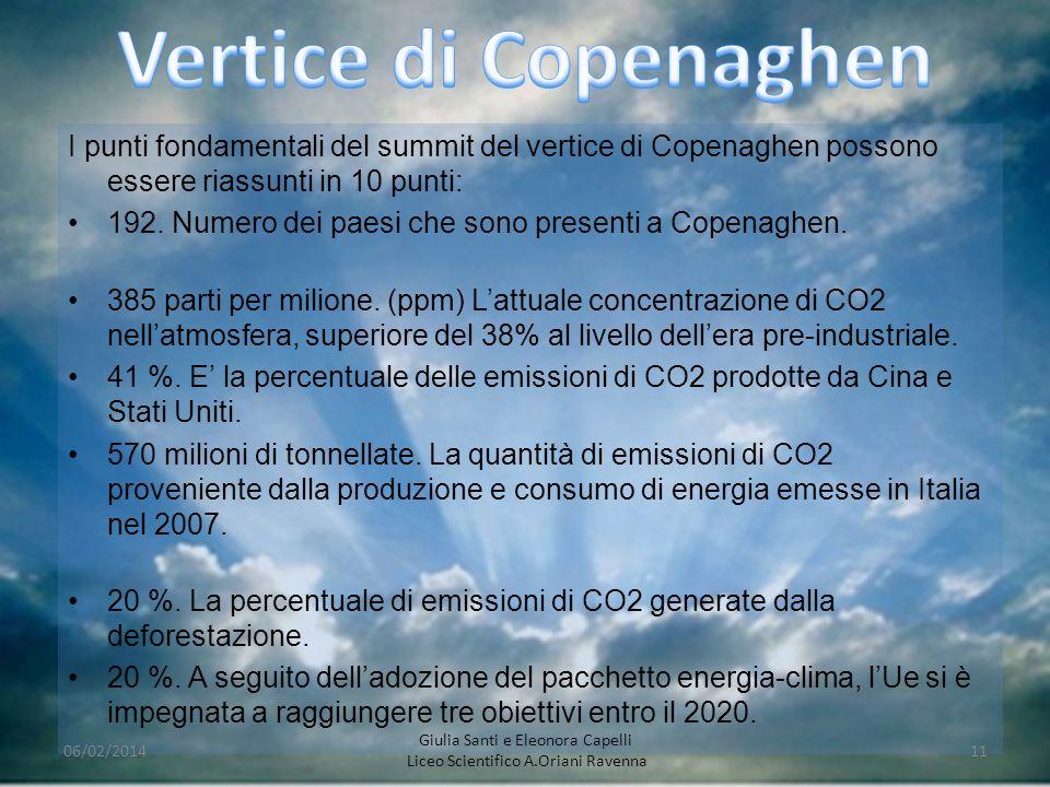 I punti fondamentali del summit del vertice di Copenaghen possono essere riassunti in 10 punti: 192. Numero dei paesi che sono presenti a Copenaghen.