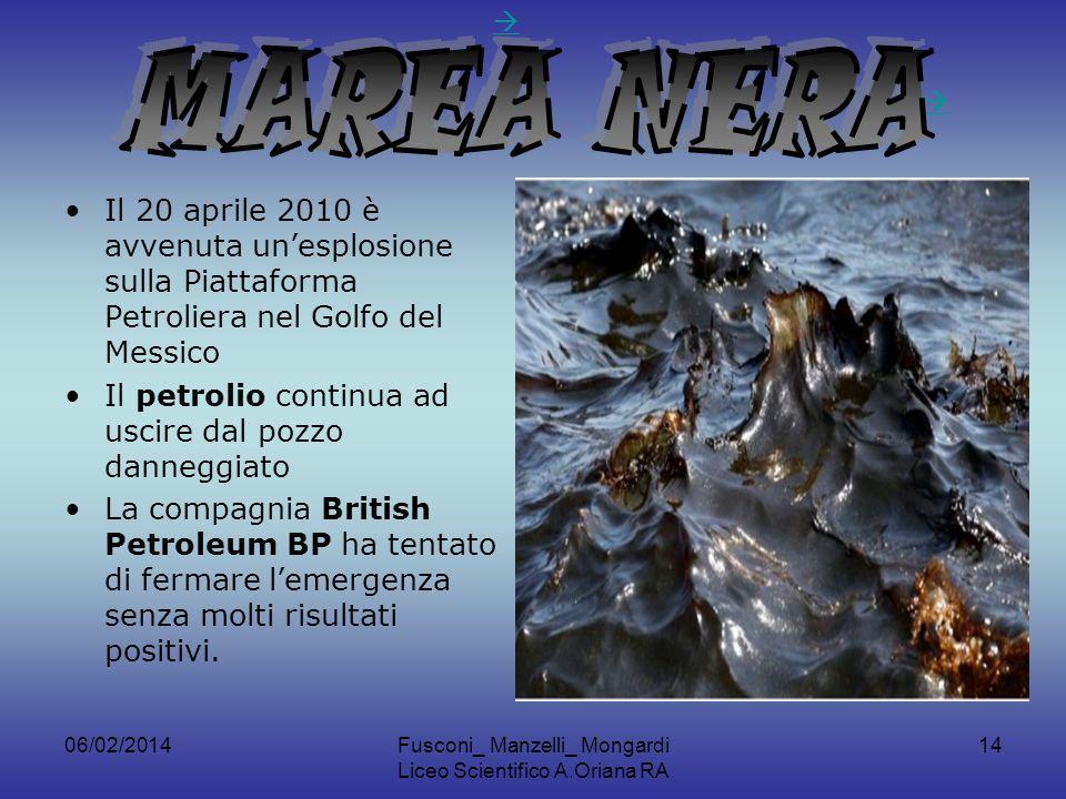 06/02/2014Fusconi_ Manzelli_ Mongardi Liceo Scientifico A.Oriana RA 14 Il 20 aprile 2010 è avvenuta unesplosione sulla Piattaforma Petroliera nel Golfo del Messico Il petrolio continua ad uscire dal pozzo danneggiato La compagnia British Petroleum BP ha tentato di fermare lemergenza senza molti risultati positivi.