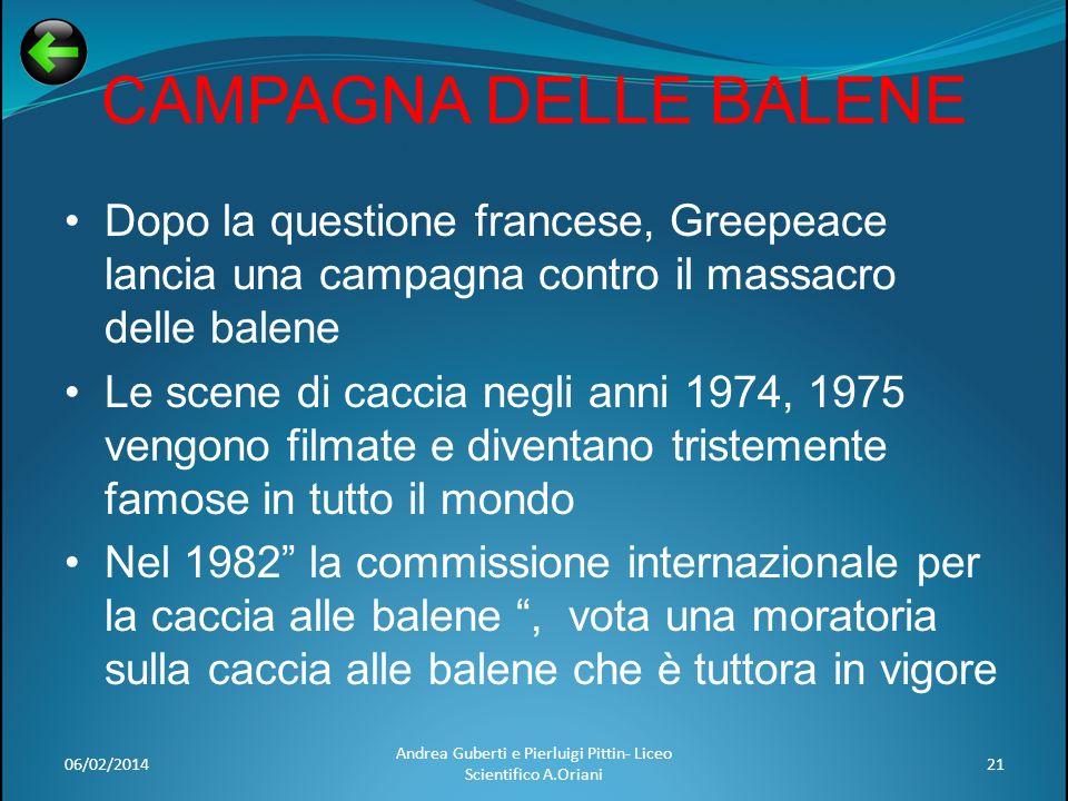 CAMPAGNA DELLE BALENE Dopo la questione francese, Greepeace lancia una campagna contro il massacro delle balene Le scene di caccia negli anni 1974, 19