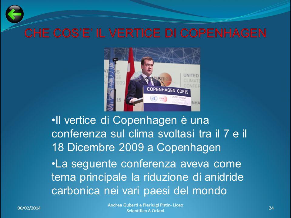06/02/201424 Andrea Guberti e Pierluigi Pittin- Liceo Scientifico A.Oriani Il vertice di Copenhagen è una conferenza sul clima svoltasi tra il 7 e il