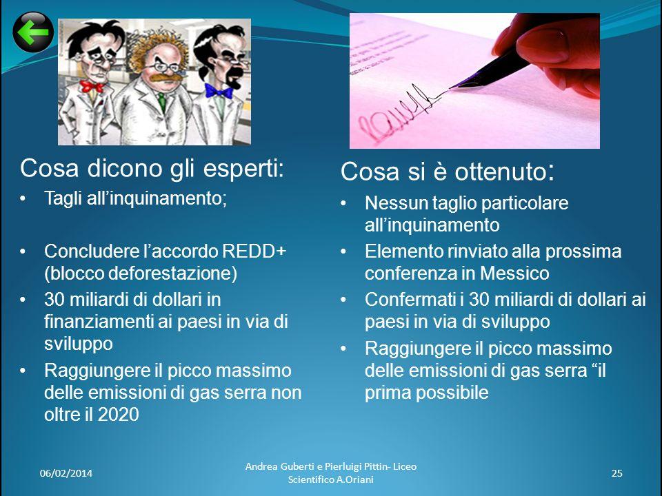06/02/201425 Andrea Guberti e Pierluigi Pittin- Liceo Scientifico A.Oriani Cosa si è ottenuto : Nessun taglio particolare allinquinamento Elemento rin