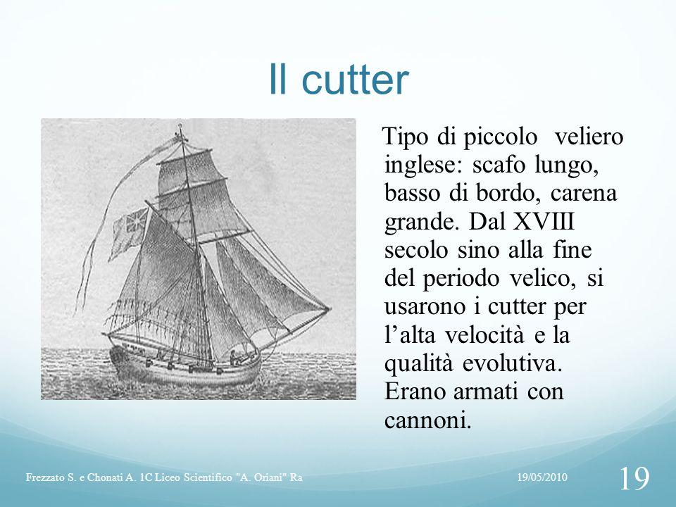 Il cutter Tipo di piccolo veliero inglese: scafo lungo, basso di bordo, carena grande. Dal XVIII secolo sino alla fine del periodo velico, si usarono