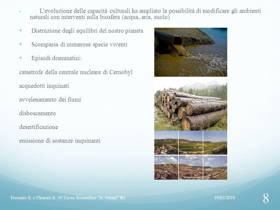 Levoluzione delle capacità culturali ha ampliato le possibilità di modificare gli ambienti naturali con interventi sulla biosfera (acqua, aria, suolo)