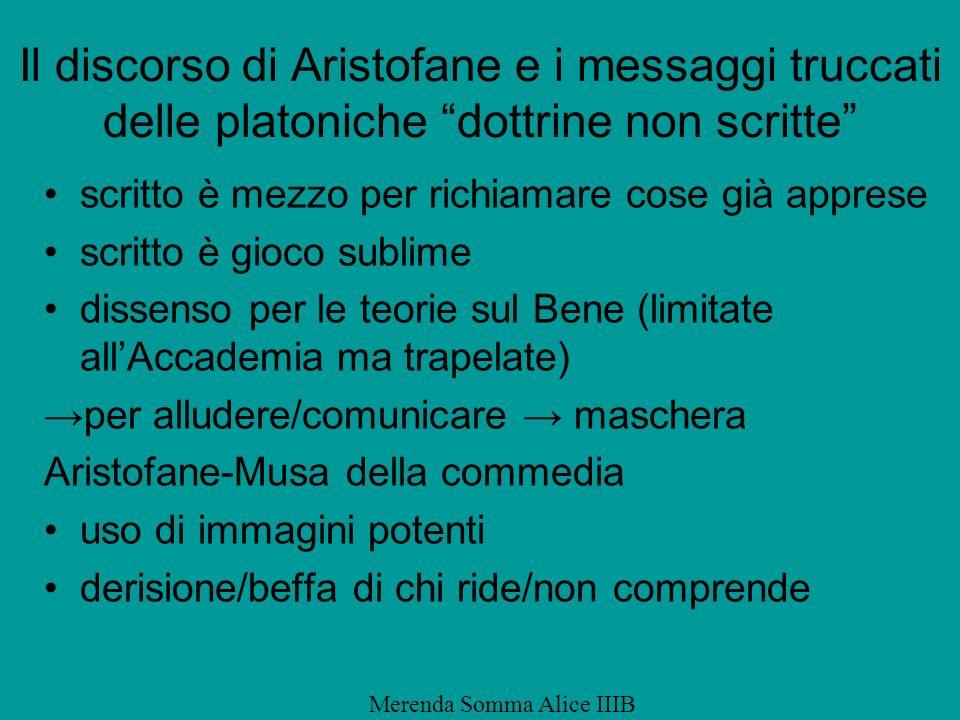 Il discorso di Aristofane e i messaggi truccati delle platoniche dottrine non scritte scritto è mezzo per richiamare cose già apprese scritto è gioco