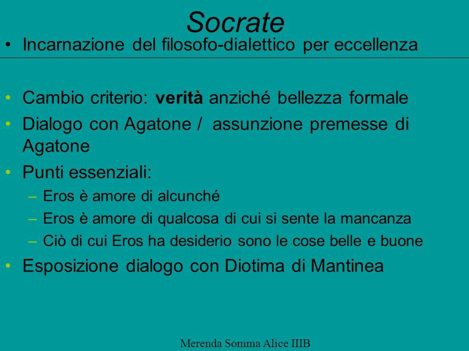 Socrate Incarnazione del filosofo-dialettico per eccellenza Cambio criterio: verità anziché bellezza formale Dialogo con Agatone / assunzione premesse