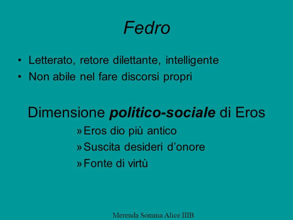 Fedro Letterato, retore dilettante, intelligente Non abile nel fare discorsi propri Dimensione politico-sociale di Eros »Eros dio più antico »Suscita
