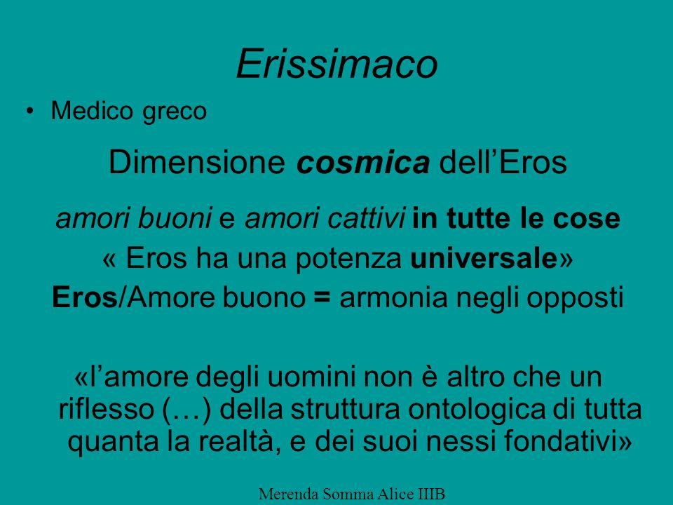 Erissimaco Medico greco Dimensione cosmica dellEros amori buoni e amori cattivi in tutte le cose « Eros ha una potenza universale» Eros/Amore buono =