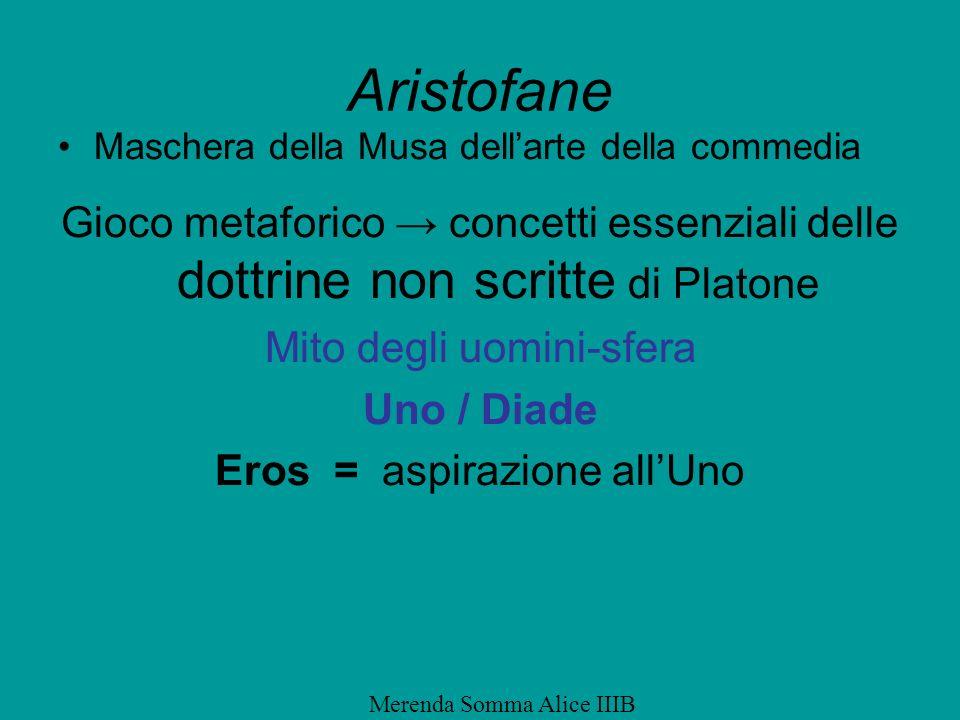 Aristofane Maschera della Musa dellarte della commedia Gioco metaforico concetti essenziali delle dottrine non scritte di Platone Mito degli uomini-sf