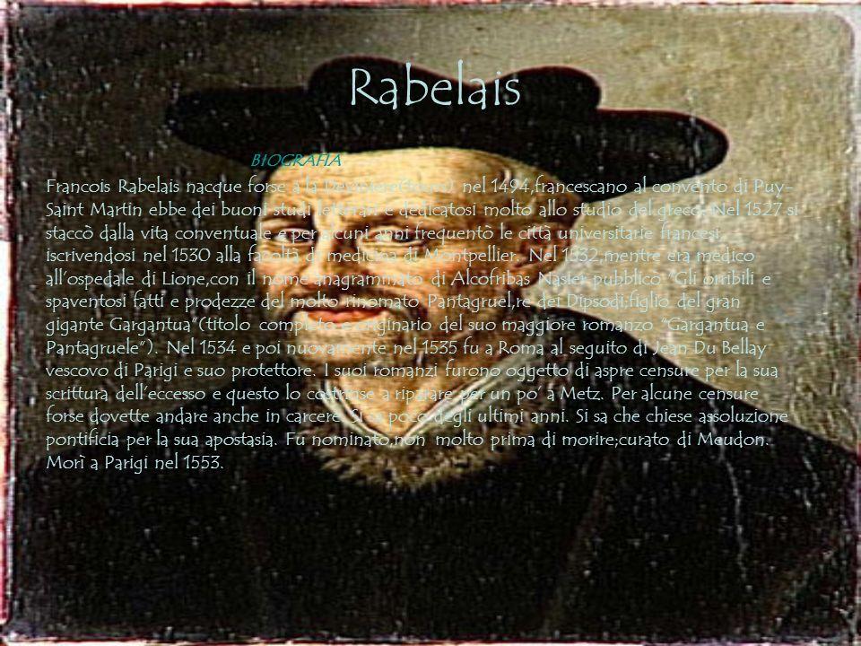 Rabelais BIOGRAFIA Francois Rabelais nacque forse a la Deviniere(tours) nel 1494,francescano al convento di Puy- Saint Martin ebbe dei buoni studi letterari e dedicatosi molto allo studio del greco.