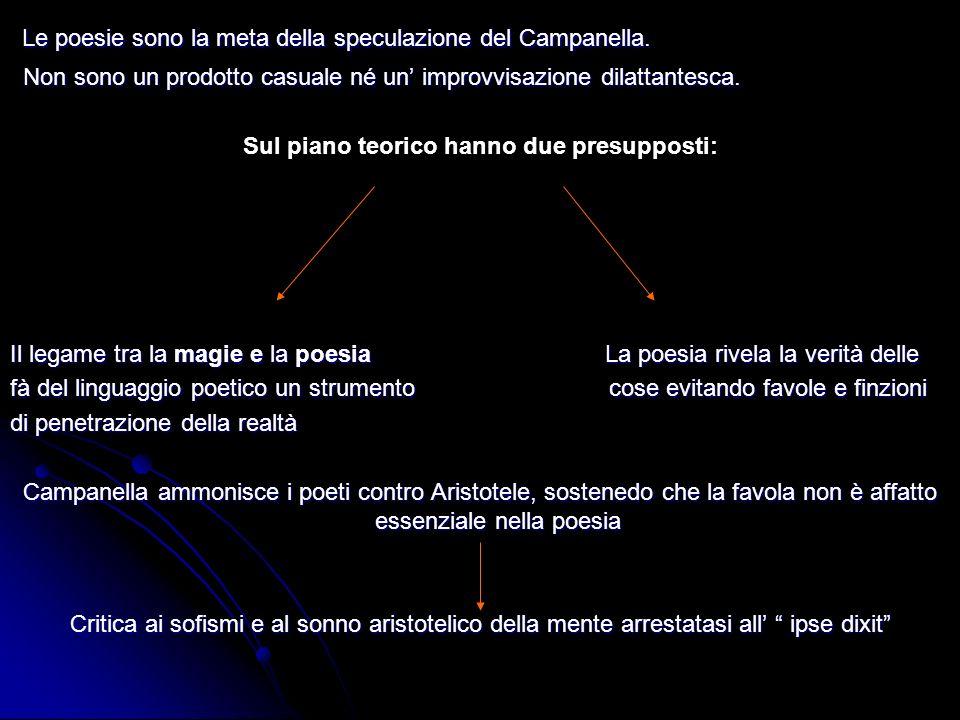 Le poesie sono la meta della speculazione del Campanella. Non sono un prodotto casuale né un improvvisazione dilattantesca. Sul piano teorico hanno du
