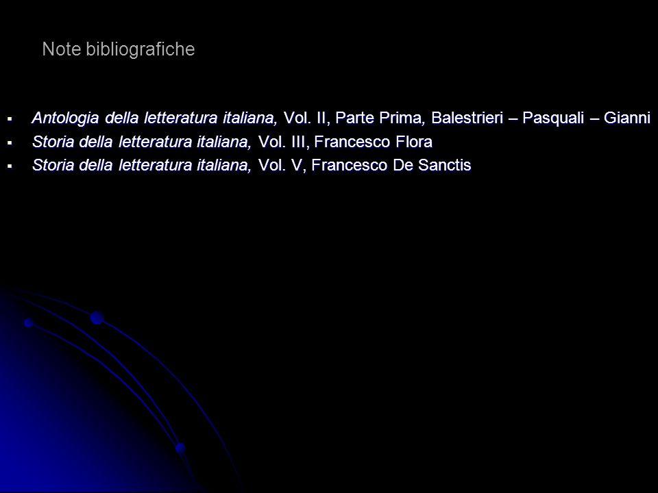 Note bibliografiche Antologia della letteratura italiana, Vol. II, Parte Prima, Balestrieri – Pasquali – Gianni Antologia della letteratura italiana,
