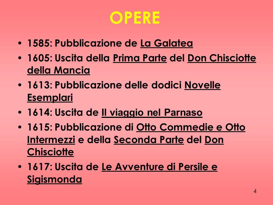 4 OPERE 1585: Pubblicazione de La Galatea 1605: Uscita della Prima Parte del Don Chisciotte della Mancia 1613: Pubblicazione delle dodici Novelle Esem