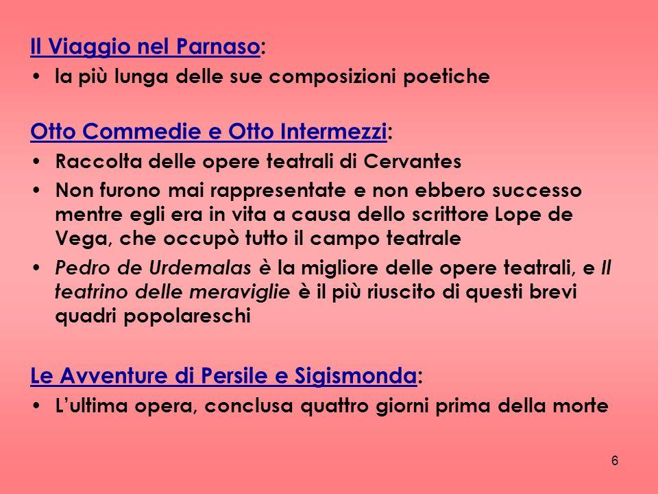 6 Il Viaggio nel Parnaso: la più lunga delle sue composizioni poetiche Otto Commedie e Otto Intermezzi: Raccolta delle opere teatrali di Cervantes Non