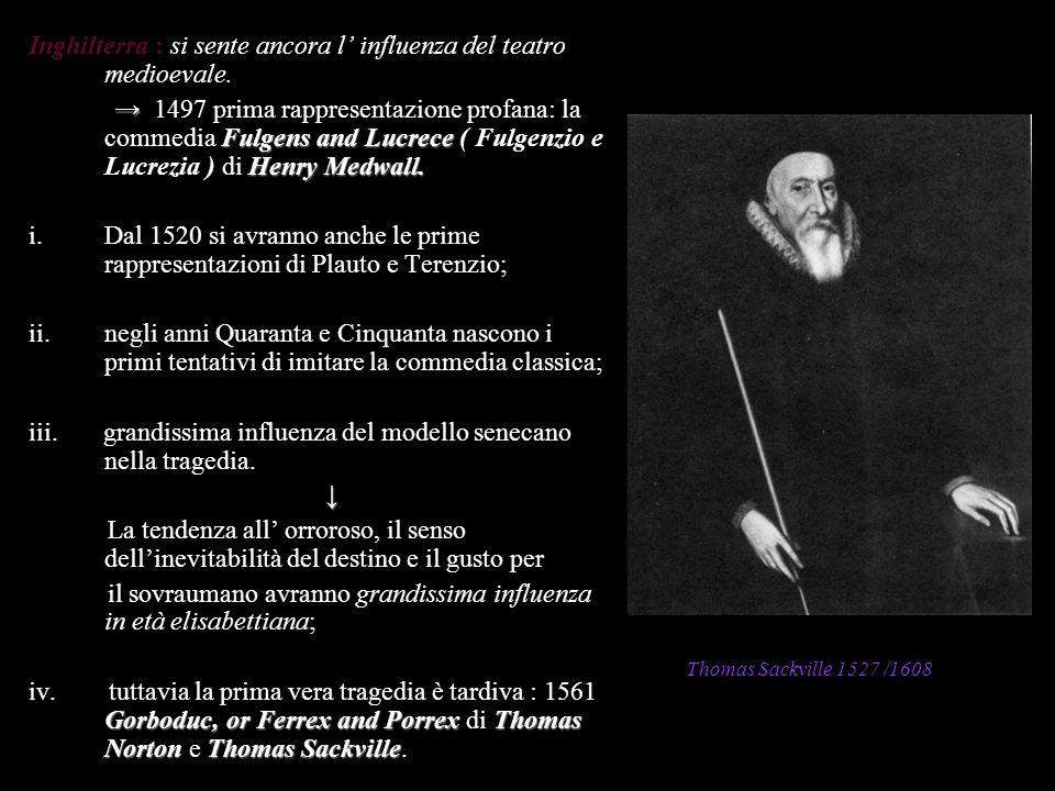 Inghilterra : si sente ancora l influenza del teatro medioevale. Fulgens and Lucrece Henry Medwall. 1497 prima rappresentazione profana: la commedia F