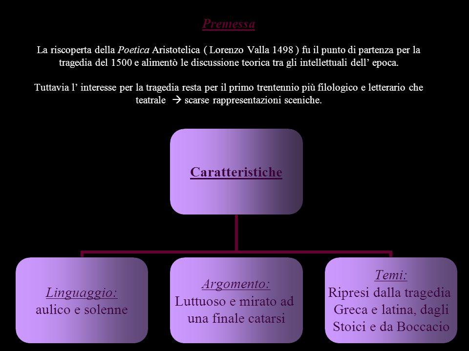 Premessa La riscoperta della Poetica Aristotelica ( Lorenzo Valla 1498 ) fu il punto di partenza per la tragedia del 1500 e alimentò le discussione te