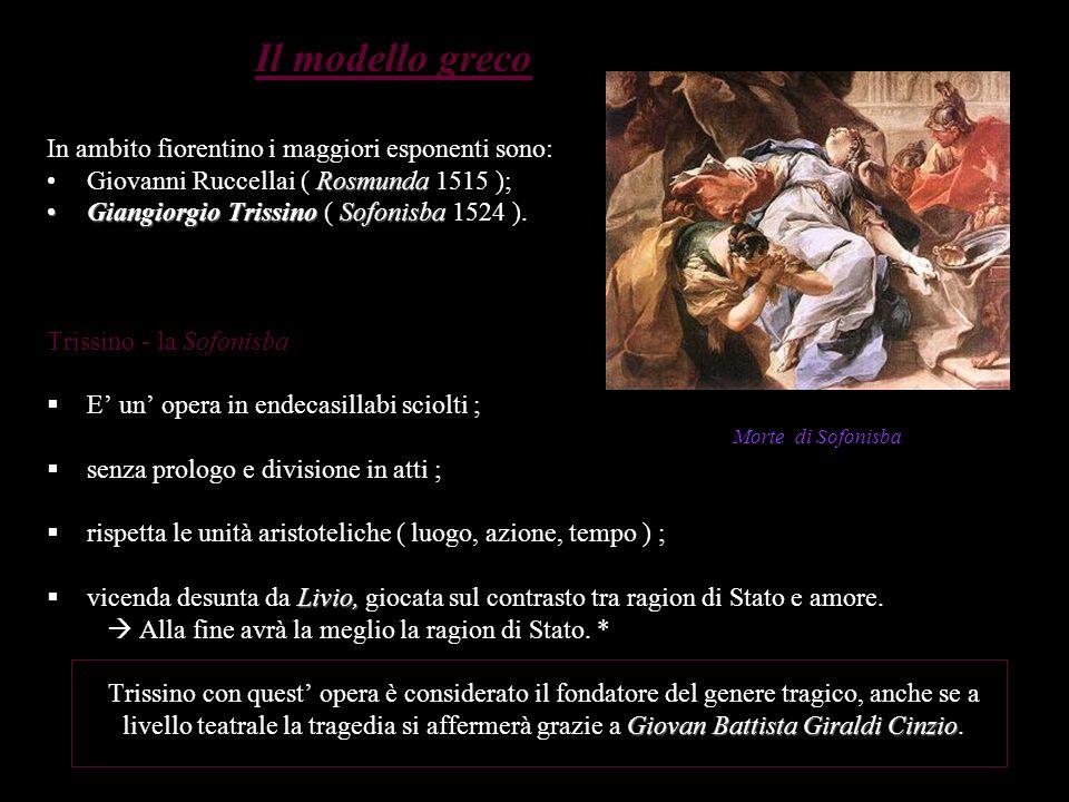 Il modello greco In ambito fiorentino i maggiori esponenti sono: RosmundaGiovanni Ruccellai ( Rosmunda 1515 ); Giangiorgio TrissinoSofonisbaGiangiorgi