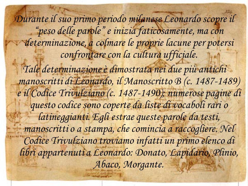 Durante il suo primo periodo milanese Leonardo scopre il peso delle parole e inizia faticosamente, ma con determinazione, a colmare le proprie lacune