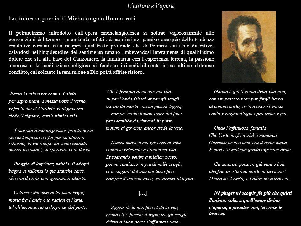 Lautore e lopera La dolorosa poesia di Michelangelo Buonarroti Il petrarchismo introdotto dallopera michelangiolesca si sottrae vigorosamente alle con