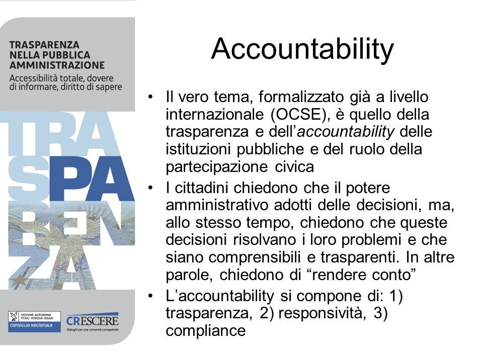 Accountability Il vero tema, formalizzato già a livello internazionale (OCSE), è quello della trasparenza e dellaccountability delle istituzioni pubbliche e del ruolo della partecipazione civica I cittadini chiedono che il potere amministrativo adotti delle decisioni, ma, allo stesso tempo, chiedono che queste decisioni risolvano i loro problemi e che siano comprensibili e trasparenti.