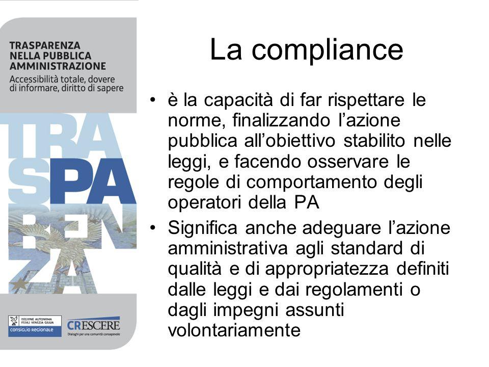 La compliance è la capacità di far rispettare le norme, finalizzando lazione pubblica allobiettivo stabilito nelle leggi, e facendo osservare le regole di comportamento degli operatori della PA Significa anche adeguare lazione amministrativa agli standard di qualità e di appropriatezza definiti dalle leggi e dai regolamenti o dagli impegni assunti volontariamente
