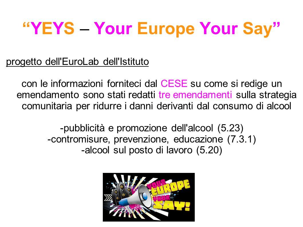 YEYS – Your Europe Your Say progetto dell EuroLab dell Istituto con le informazioni forniteci dal CESE su come si redige un emendamento sono stati redatti tre emendamenti sulla strategia comunitaria per ridurre i danni derivanti dal consumo di alcool -pubblicità e promozione dell alcool (5.23) -contromisure, prevenzione, educazione (7.3.1) -alcool sul posto di lavoro (5.20)